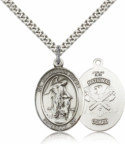 Guardian Angel National Guard Silver-filled Patron Saint Necklace w/Chain by Bliss