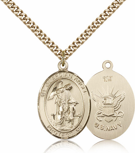 Guardian Angel Navy 14kt Gold-Filled Saint Pendant Necklace by Bliss