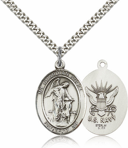 Guardian Angel Navy Pewter Patron Saint Catholic Necklace by Bliss