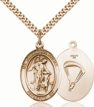 Guardian Angel Paratrooper 14kt Gold-Filled Saint Pendant Necklace by Bliss