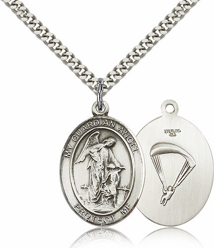 Guardian Angel Paratrooper Pewter Patron Saint Catholic Necklace by Bliss