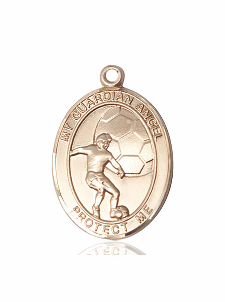 Guardian Angel Soccer 14kt Gold Sports Medal Pendant by Bliss