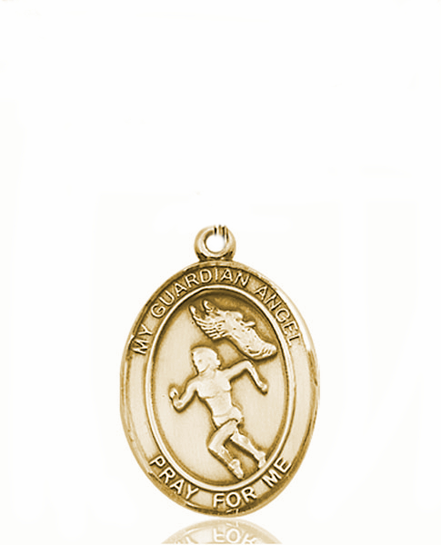 Guardian Angel Women's Track and Field 14kt Gold Sports Medal Pendant by Bliss