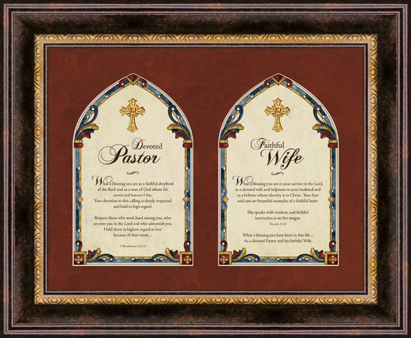 Heartfelt Pastor and Pastor's Wife w/Bible Verses Framed Wall Art Picture