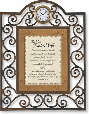 Heartfelt Pastor's Wife Proverbs 31:10-12 Clock Framed Picture
