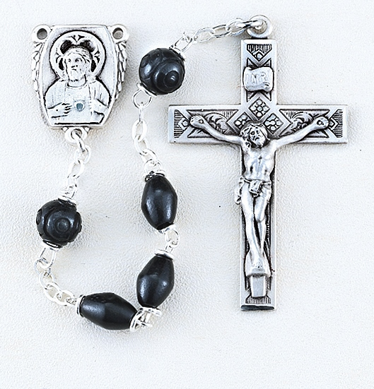 HMH Religious Black Coco Beads Sterling Scapular Rosary