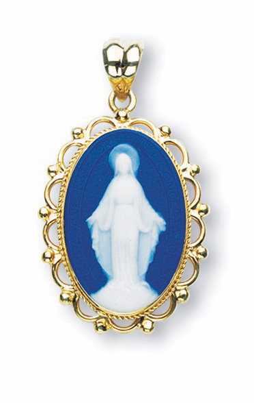 HMH Religious Capodimonte Cameos Our Lady of Grace Gold Pendant Necklace