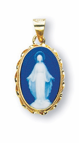 HMH Religious Gold Framed Our Lady of Grace Capodimonte Cameo Necklace