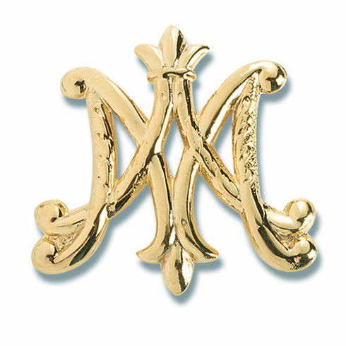 HMH Religious Gold over Solid Sterling Silver Ave Maria Brooch Pin