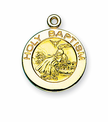 HMH Religious Holy Baptism Gold/Sterling Necklace
