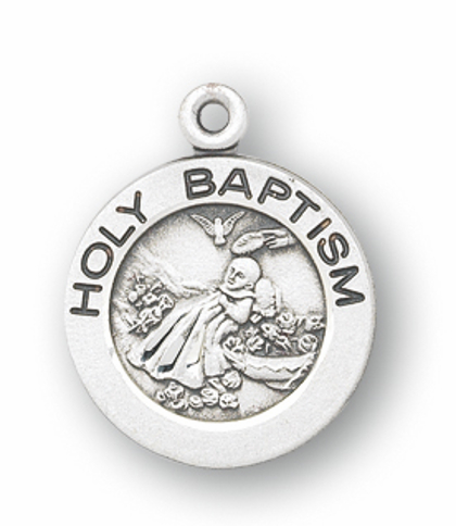 HMH Religious Holy Baptism Round Sterling Necklace
