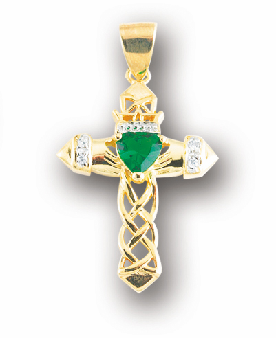 HMH Religious Irish Celtic Gold over Sterling Emerald Zircon Cross Necklace