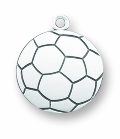 HMH Religious Lord Jesus Christ Soccer Ball Sport Sterling Medal Necklace