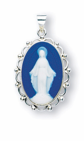 HMH Religious Our Lady of Grace Blue Capodimonte Cameo Necklace
