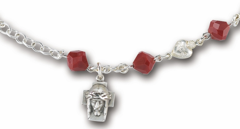 HMH Religious Red Coral Tin Cut Solid Sterling Heart Sacred Heart Jesus Bracelet