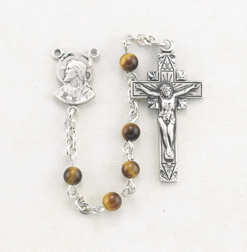 HMH Religious Sacred Heart of Jesus Round Brown Tiger Eye Gemstone Prayer Rosary