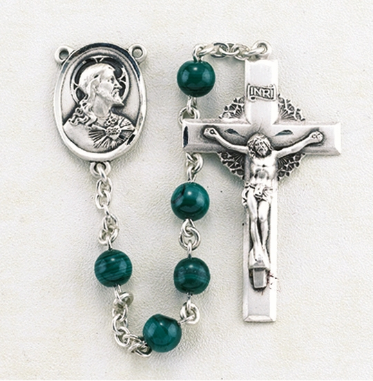 HMH Religious Sacred Heart of Jesus Round Malachite Gemstone Prayer Rosary