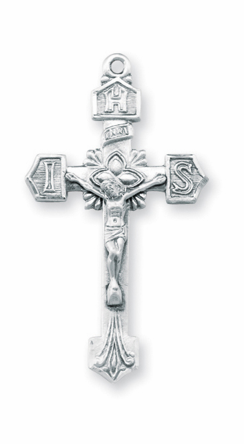 IHS Monogram of Jesus Christ Sterling Silver Crucifix Pendant by HMH Religious