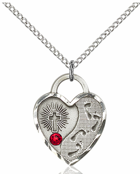 Jesus Footprints Heart Shape July Ruby Birthstone Necklace