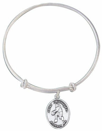 Jeweled Cross St Christopher Basketball Bangle Charm Silver Bangle Bracelet