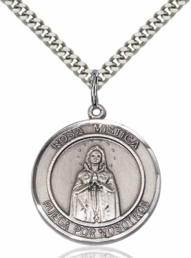 Large Our Lady Rosa Mystica Spanish Sterling Medal Necklace by Bliss