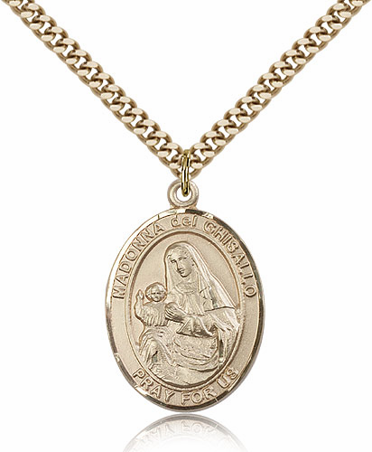 Madonna Del Ghisallo Gold Filled Patroness Saint Medal Necklace by Bliss