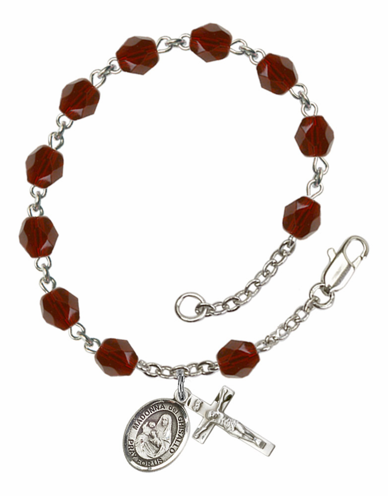 Madonna Del Ghisallo Silver Plate Birthstone Rosary Bracelet by Bliss