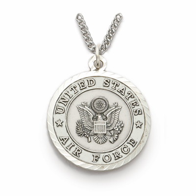Men's Air Force St Michael Sterling Military Necklace by Singer