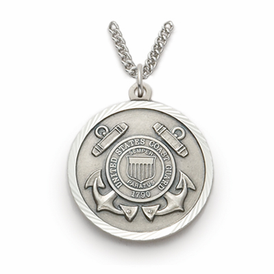 Men's St Michael Coast Guard Sterling Military Necklace by Singer