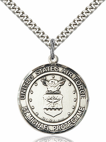 Mens US Air Force Patron Saint Michael Sterling Silver Engravable Medal Necklace by Bliss