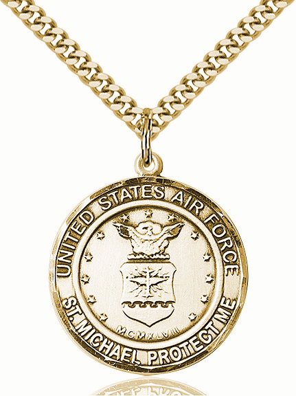Mens US Air Force Patron St Michael 14kt Gold-filled Engravable Medal Necklace by Bliss