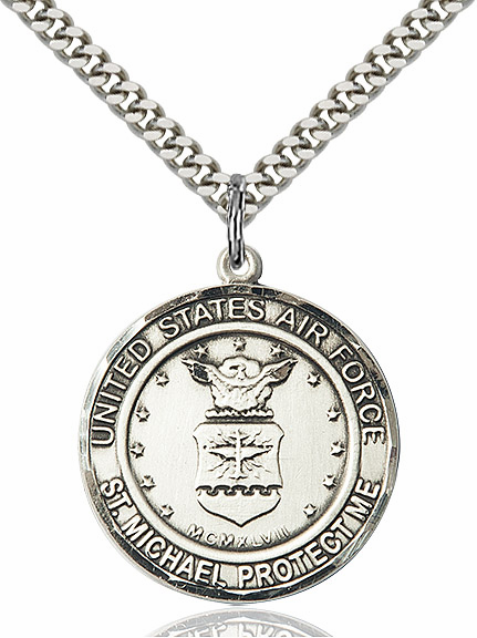 Mens US Air Force Patron St Michael Silver-filled Engravable Medal Necklace by Bliss