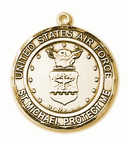 Mens US Air Force St Michael 14kt Gold Engravable Medal Necklace by Bliss