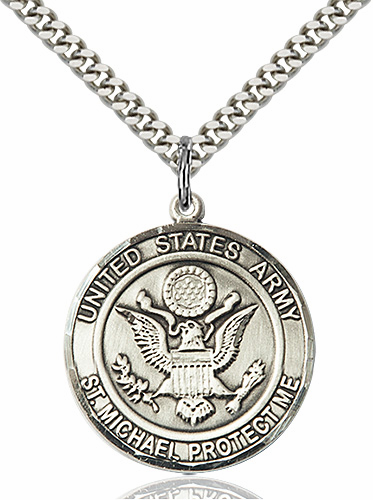 Mens US Army Saint Michael Sterling Engravable Medal Necklace by Bliss