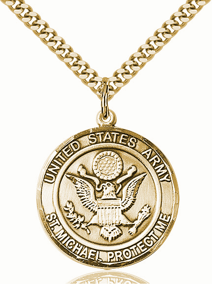 Mens US Army St Michael 14kt Gold-filled Engravable Medal Necklace by Bliss