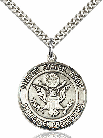 Mens US Army St Michael Silver-filled Engravable Medal Necklace by Bliss