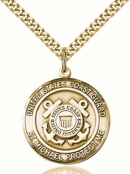 Mens US Coast Guard Patron St Michael 14kt Gold-filled Engravable Medal Necklace by Bliss
