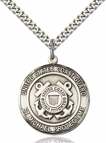 Mens US Coast Guard Patron St Michael Sterling Engravable Medal Necklace by Bliss