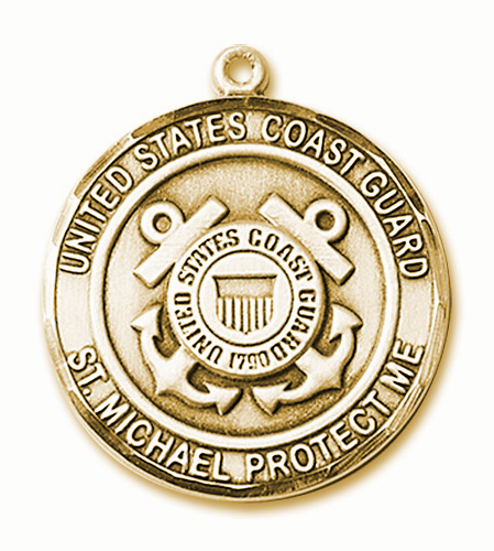 Mens US Coast Guard St Michael 14kt Gold Engravable Medal Necklace by Bliss