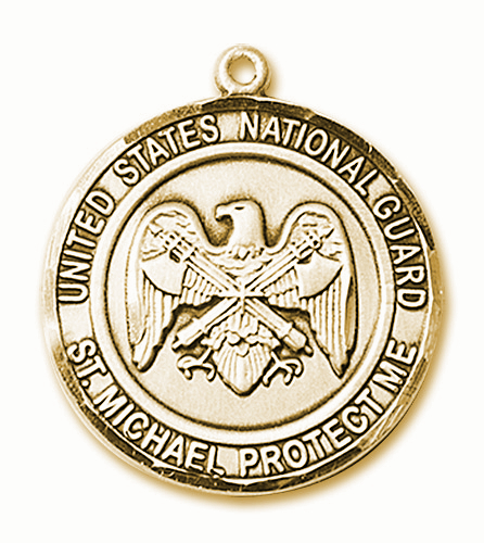 Mens US National Guard St Michael 14kt Gold Engravable Medal Necklace by Bliss