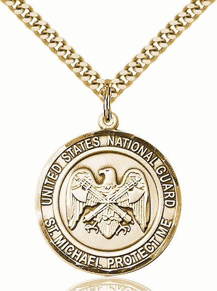 Mens US National Guard St Michael 14kt Gold-filled Engravable Medal Necklace by Bliss
