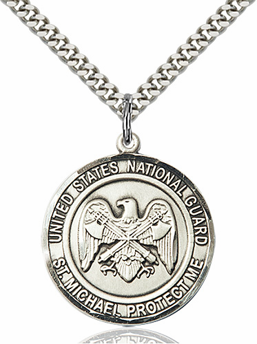 Mens US National Guard St Michael Sterling Engravable Medal Necklace by Bliss