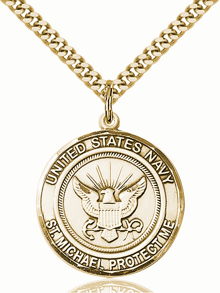 Mens US Navy Patron St Michael 14kt Gold-filled Engravable Medal Necklace by Bliss