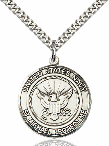 Mens US Navy Patron St Michael Sterling Engravable Medal Necklace by Bliss