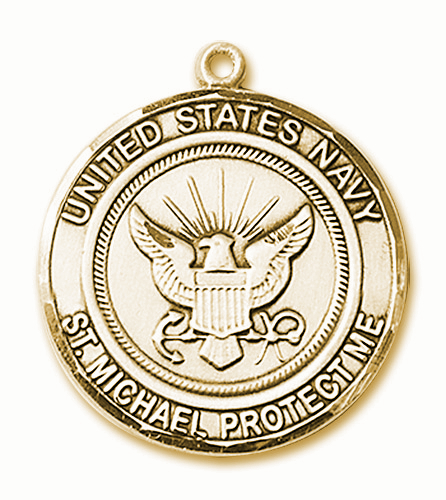 Mens US Navy St Michael 14kt Gold Engravable Medal Necklace by Bliss
