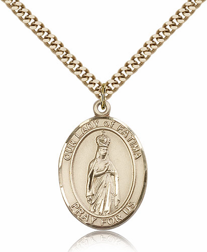 Our Lady of Fatima Gold Filled Patroness Saint Medal Necklace by Bliss