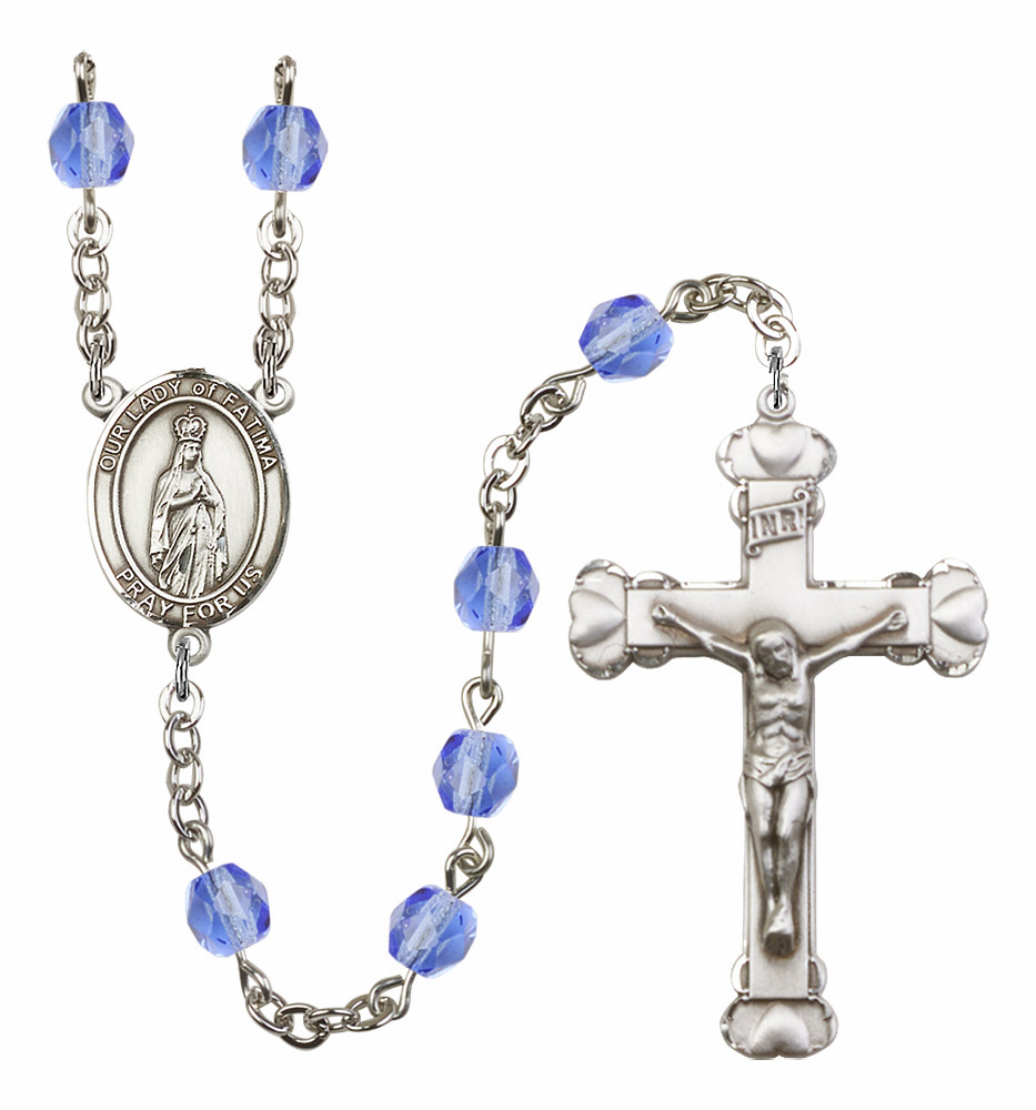 Our Lady of Fatima Patron Saint Birthstone Fire Polished Crystal Prayer Rosary