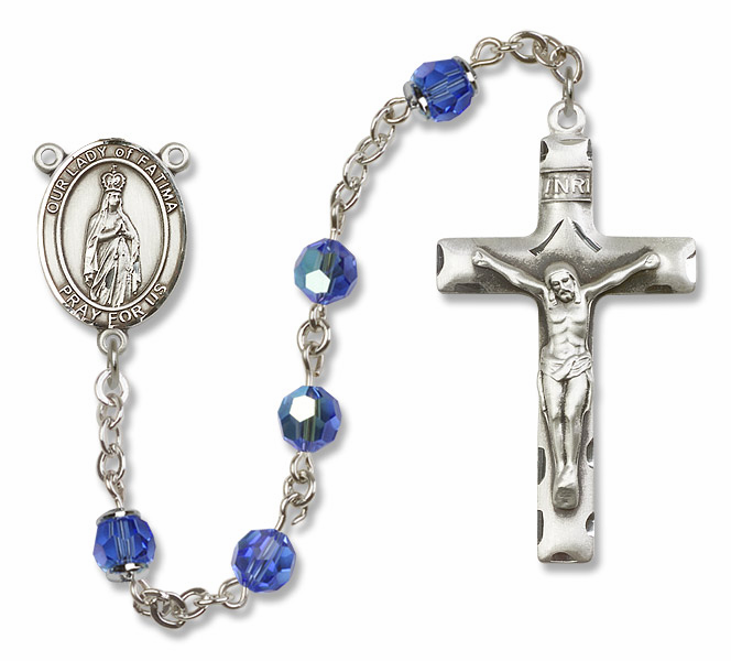 Our Lady of Fatima Sapphire Swarovski Sterling Silver Prayer Rosary by Bliss