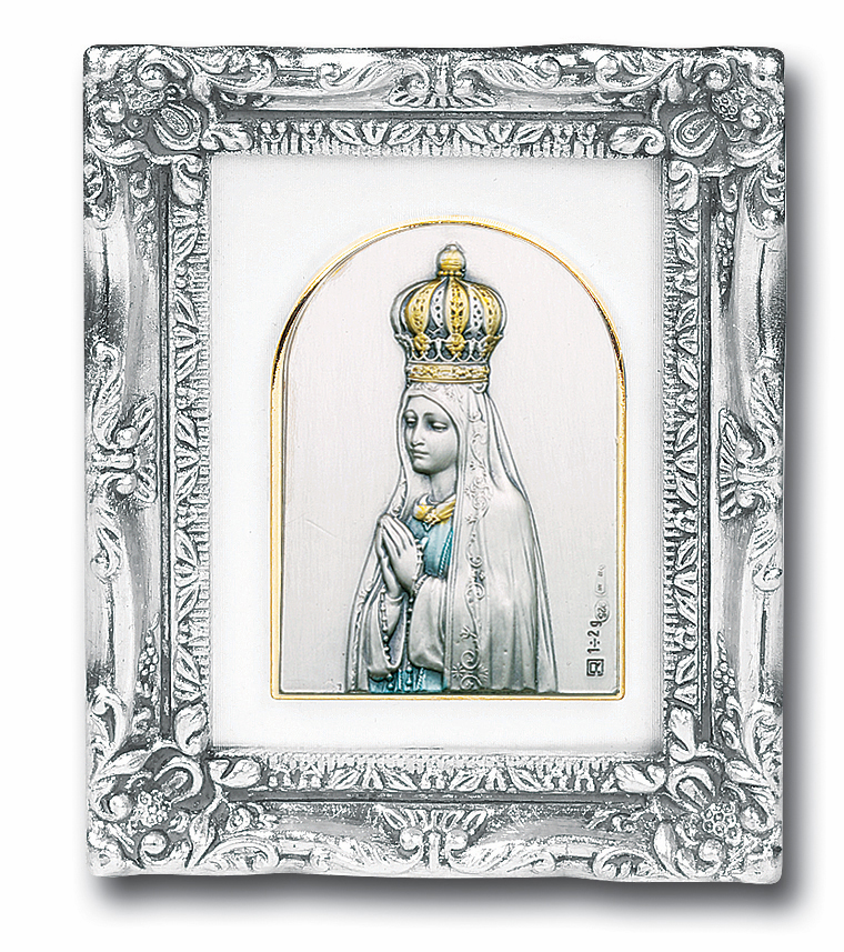 Our Lady of Fatima Sterling Silver Image Antique Silver Leaf Framed Picture by Salerni Collection