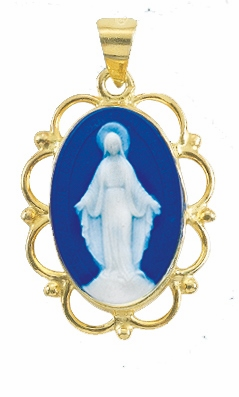 Our Lady of Grace Dark Blue Cameo w/Gold Filigree Frame Necklace by HMH Religious